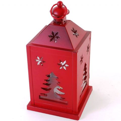Red Metal Christmas Tree & Snowflake - Glass Storm Lantern For Candles or Tealights